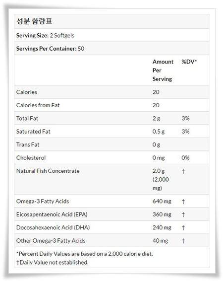아이허브 오메가2 성분함량표